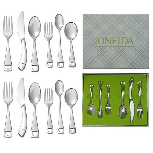 Set of 2 Oneida Little Love 6 Piece Child & Baby 18/10 Stainless Flatware Set | Extra 30% Off Code FF30 | Finest Flatware