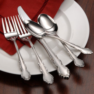 Oneida Satin Dover 5 Piece Fine Flatware Set, Service for 1 | Extra 30% Off Code FF30 | Finest Flatware