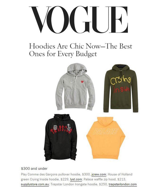 Trapstar featured in Hoodies at Every Price by Vogue