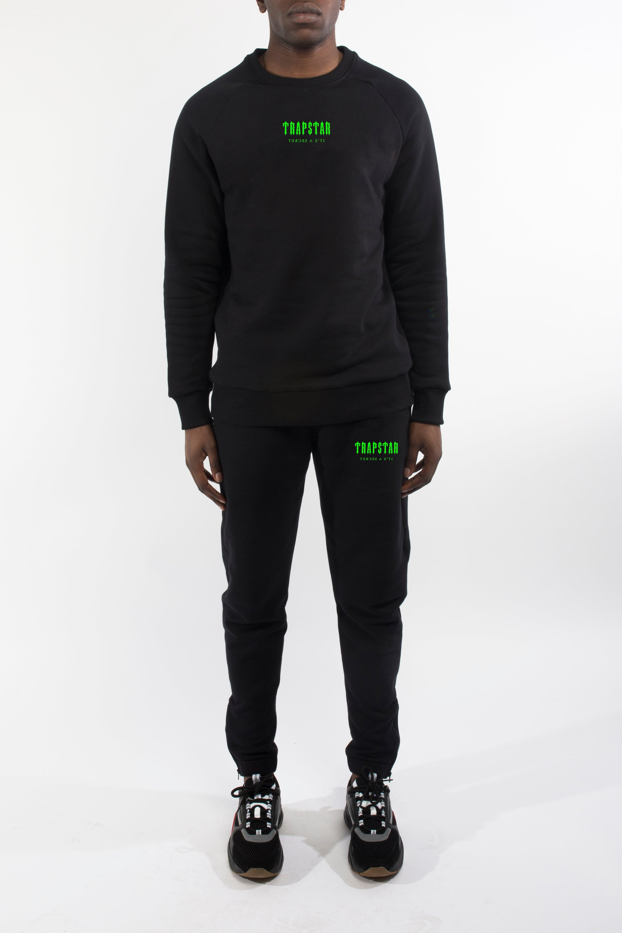 Decoded Centre Chest Crewneck Tracksuit - Black/Neon Green
