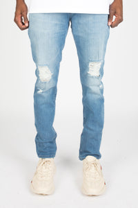Trapstar Distressed Denim Jeans - Light Blue