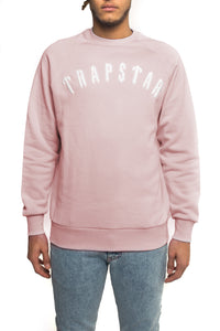 Chenille Irongate Crewneck - Dusty Pink/White