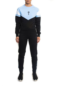 Women's V-Block Crewneck Tracksuit - Black/Cashmere Blue/White