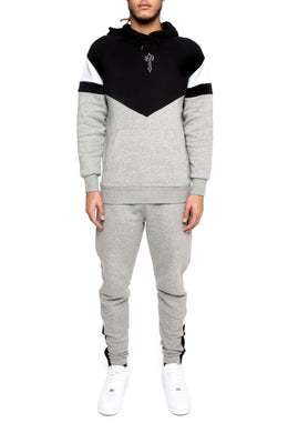 V-Block Hoodie Tracksuit - Black/Marl Grey/White