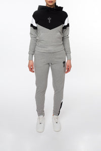 Women's V-Block Hoodie Tracksuit - Black/Marl Grey/White