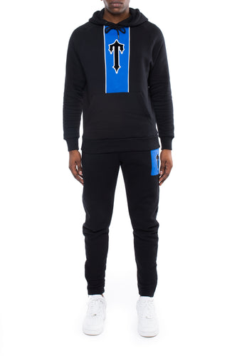 3D Embroidered Irongate T Contrast Panel Hoodie Tracksuit - Black/Cobalt Blue
