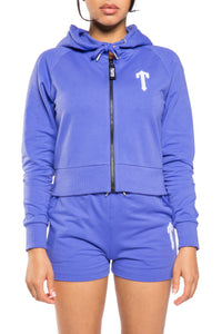 Women's Irongate T Short Zip Tracksuit - Purple/White