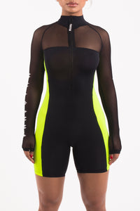 Irongate Mesh Short Bodysuit SS19 Edition - Black/Neon Yellow