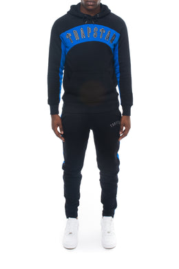 3D Embroidered Irongate Arch Panel Hoodie Tracksuit - Black/Cobalt Blue