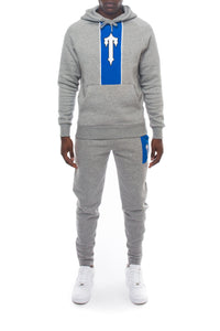 3D Embroidered Irongate T Contrast Panel Hoodie Tracksuit - Marl Grey/Blue/White