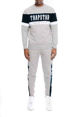 Decoded Panel Crewneck Tracksuit - Grey/Black/White