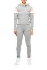 Women's 3D Embroidered Irongate Arch Tracksuit - Marl Grey/Dusty Pink/White