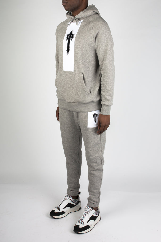 3D Embroidered Irongate T Contrast Panel Tracksuit - Grey/White