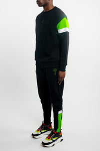Mens V-Block Crewneck Tracksuit - Black/Neon Green