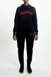 Womens Embroidered Irongate Tracksuit - Black/Neon Pink
