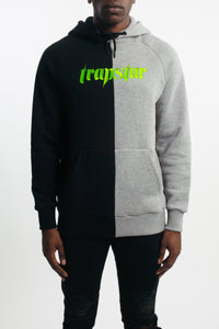 Ironblade Panel Hoodie - Black/Marl Grey/Neon Green