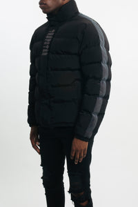 Mens Irongate AW19 Iridescent Stripe Quilted Slim Fit Jacket - Black/Iridescent