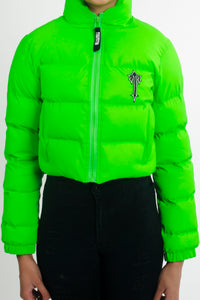 Womens Irongate Cropped Quilted Jacket - Reflective Neon Green