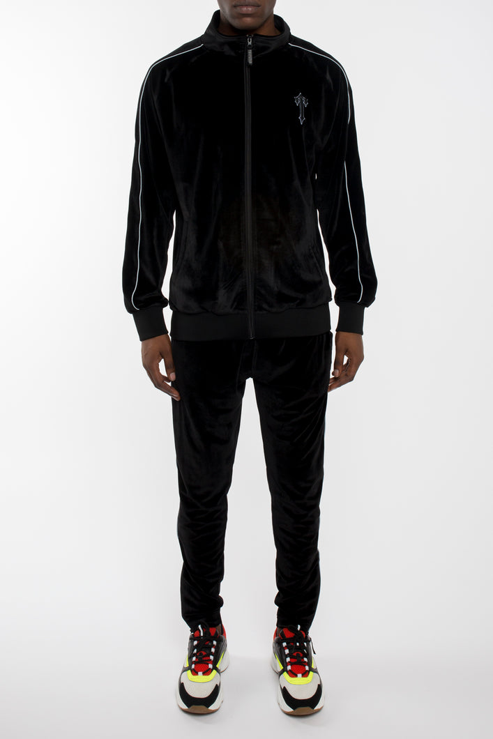 Velour Irongate T Panel Zip Tracksuit - Black/Reflective
