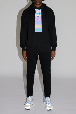 3D Embroidered Irongate T Contrast Panel Hoodie Tracksuit - Black/Iridescent