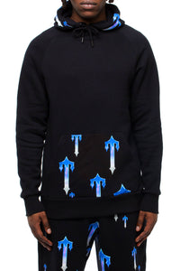 Chrome Allover Hoodie - Black/Blue