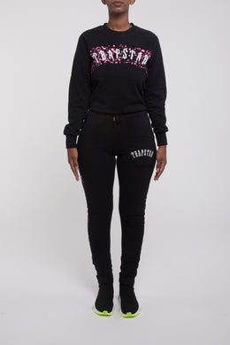 Womens Speckled Arch Panel Crewneck Tracksuit - Black/Neon Pink