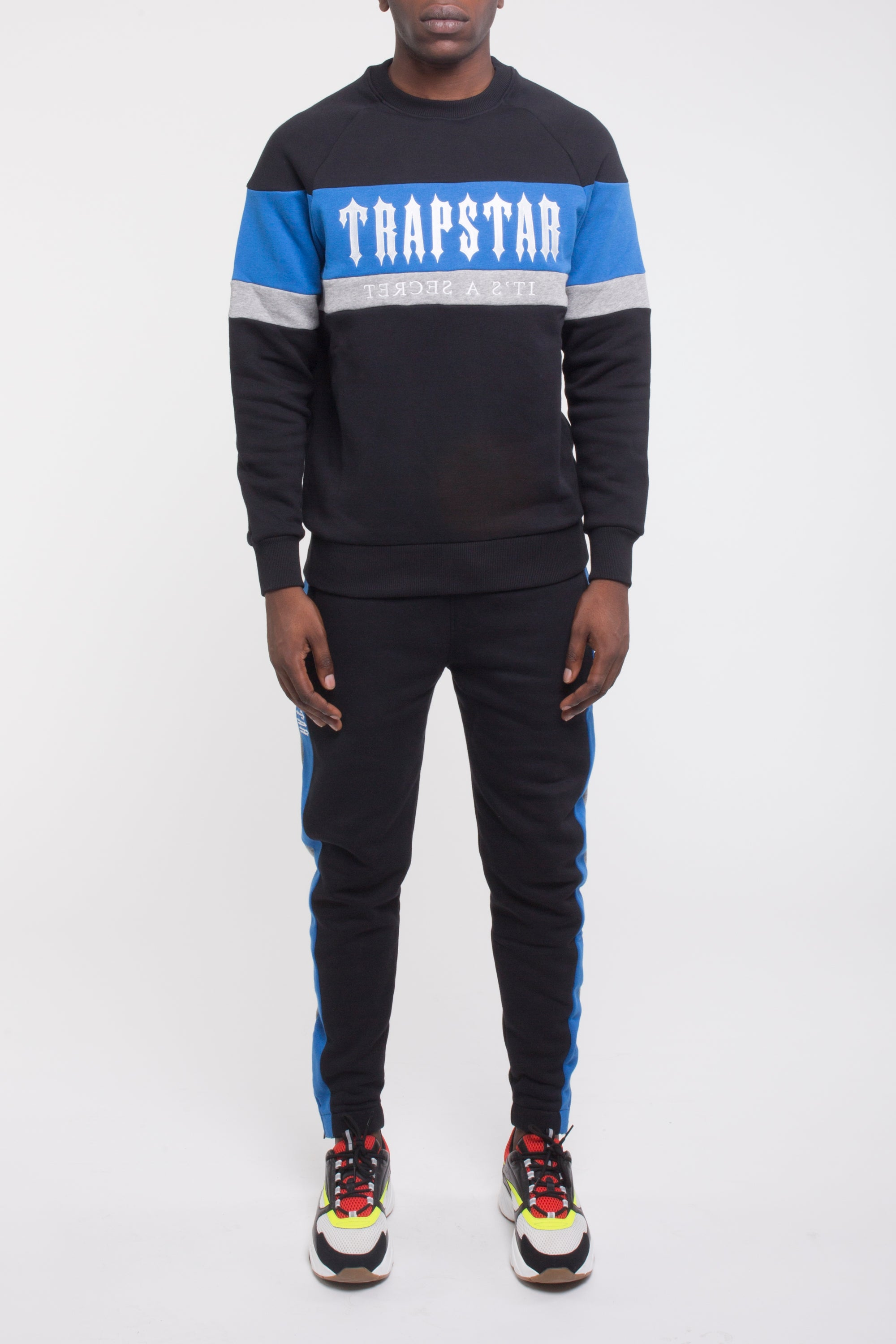 Decoded Panel Crewneck Tracksuit - Black/Blue/Marl Grey