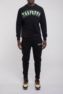 Speckled Arch Panel Crewneck Tracksuit - Black/Neon Green
