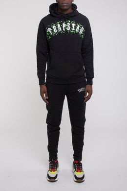 Speckled Arch Panel Hoodie Tracksuit - Black/Neon Green
