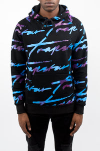 Allover Signature Hoodie - Black/Tie Dye