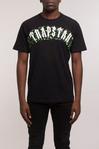 Speckled Arch Panel Tee - Black/Neon Green