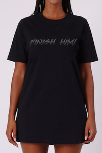 Womens Trapstar x Mortal Kombat Finish Him Oversized T-Shirt Dress - Black