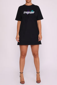 Womens Ironblade Thorns & Roses Oversized T-Shirt Dress - Black