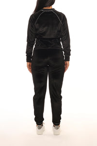 Womens Velour Irongate T Crewneck Tracksuit - Black