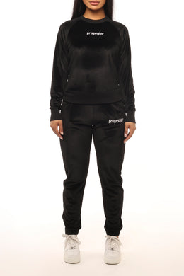 Womens Velour Ironblade Crewneck Tracksuit - Black