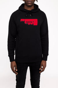 Paint Box Hoodie - Black/Crimson Red