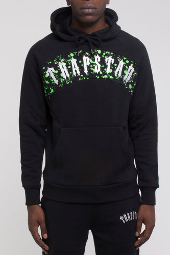Speckled Arch Panel Hoodie - Black/Neon Green