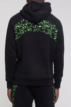 Load image into Gallery viewer, Speckled Arch Panel Hoodie - Black/Neon Green