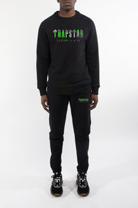 Decoded Camo Crewneck Tracksuit - Black/Neon Green