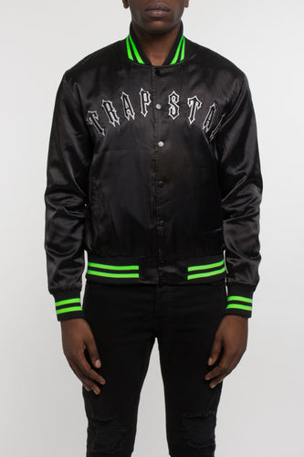 Irongate Satin Stadium Jacket - Black/Neon Green