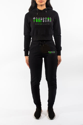 Womens Decoded Camo Hooded Tracksuit - Black/Neon Green