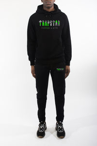 Decoded Camo Hooded Tracksuit - Black/Neon Green