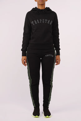 Womens 3D Embroidered Irongate Tape Hoodie Tracksuit - Black/Neon Green
