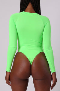 Ironblade Cut Out Bodysuit - Neon Green