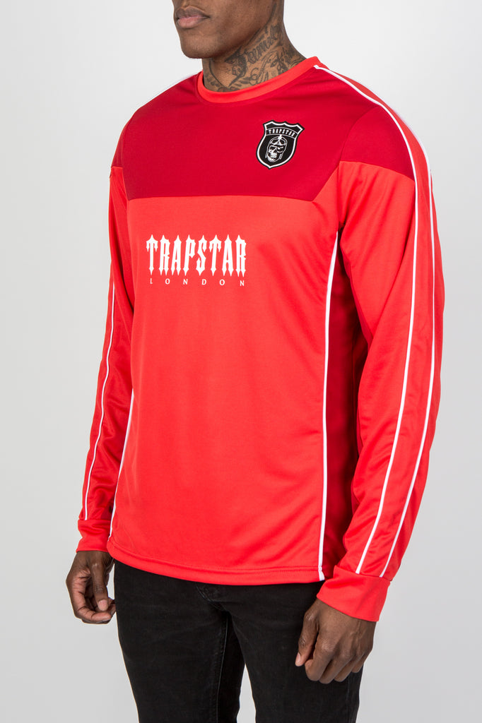 Trapstar L/S Football Top - Red/White