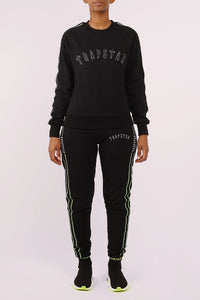 Womens 3D Embroidered Irongate Tape Crewneck Tracksuit - Black/Neon Green