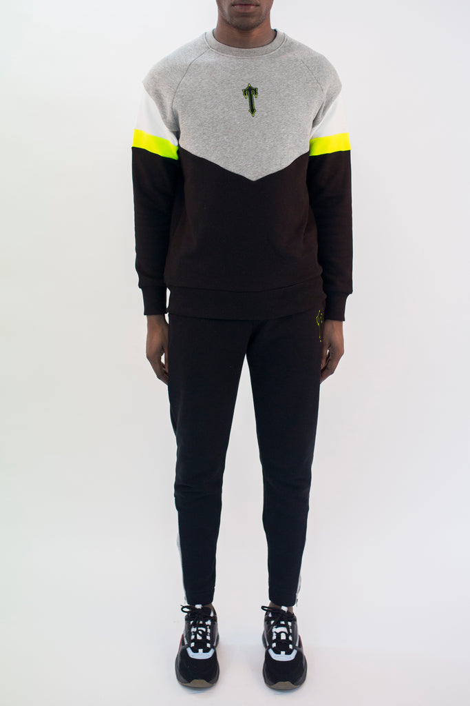 Mens V-Block Crewneck Tracksuit - Black/Grey/Neon Yellow