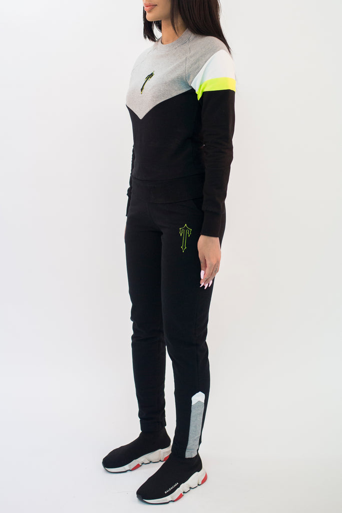 Women's V-Block Crewneck Tracksuit - Black/Grey/Neon Yellow