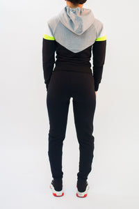 Women's V-Block Tracksuit - Black/Grey/Neon Yellow