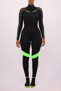 Ironblade  Half Zip Full Body Suit - Black/Neon Green